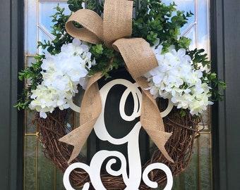 White Hydrangea Wreath - Wreath with Monogram- Farmhouse Wreath - Spring Wreath - Summer Wreath - Front Door Wreath - Wreath with Initial