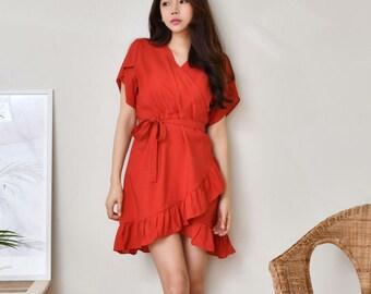 Linen Mini Ruffle Ribbon Dress