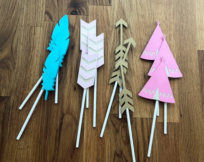 Tribal Cupcake Toppers - Wild One Three Thing Baby Shower Birthday Party Cute Girl Pink Teal Aqua Gold Arrow Chevron Feather Boho Chic Girl