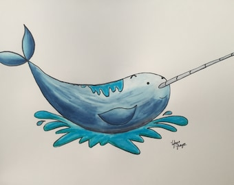 Splashtastic Narwal watercolor