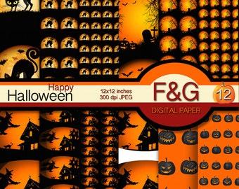 HAPPY HALLOWEEN Digital Paper, Pumpkins, Halloween, Craft, Scrapbooking, Cartonnage, Supplies - PACK1