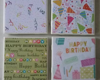 Birthday Party Ceramic Coasters - Party Decor, Gift, Birthday Month!