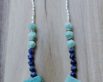 RIVER'S FLOW Necklace  - Karen Hill Tribe Silver - Amazonite - Turquoise beads