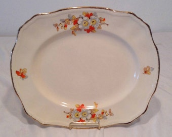 Alfred Meakin England MEA220 Serving Platter White Flowers with Autumn Fall Leaves