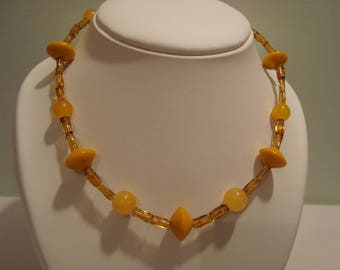 Mustard yellow glass beaded necklace