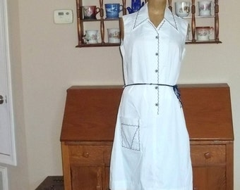 70's Dress White ,Mint Condition,Sundress nautical summer day straight shift  Dress  Size 12, New  with tags  but Vintage 1970s,old stock