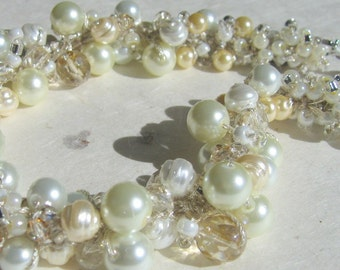 Pearl Crystal REGENCY Style Wedding Bridal Necklace - Ivory White, Honey Pear, Hand Knit Jewelry Art of Pearls Clusters, Exclusive Design.