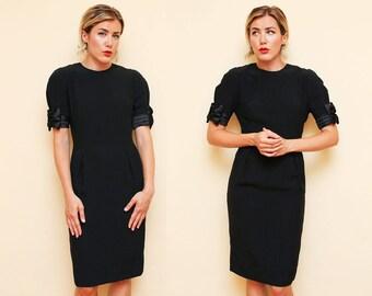 Chic Black Dress // Formal Designer Dress // 1980s Albert Nipon Bow Sleeve Classy Modest Cocktail Dress Size 6 Small