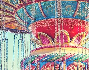 Rainbow Color Carnival Ride Photograph, Classic Colorful Seaswings Ride, Beach Photo Print, Bright Retro Nursery Decor - Rainbow Swings