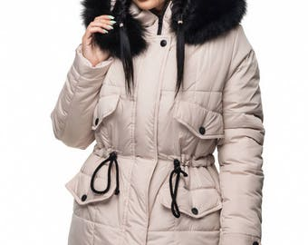 Beige Coat parka with Arctic Fox on the hood