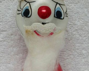 Vintage Painted Christmas Ornament ITALY De Carlini Figural Glass Santa Beard Hat Red White