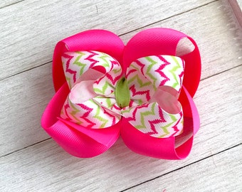 Spring Summer Hair Bow - Pink Green - Boutique Hair Bow - Girl Hair Bow - Chevron Hair Bow - Stacked Hair Bow