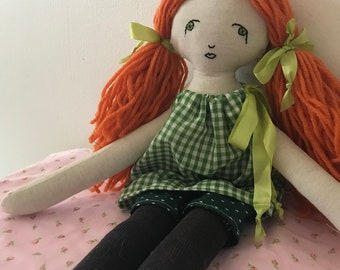 Ginger -- Handmade rag doll created with upcycled and thrifted materials with hand embroidered face.