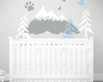 Pastel Woodland Headboard Powder Blue Nursery Mountain Wall Art Wall Decal Kids Baby Room washable self adhesive sticker Toddler Room Decor