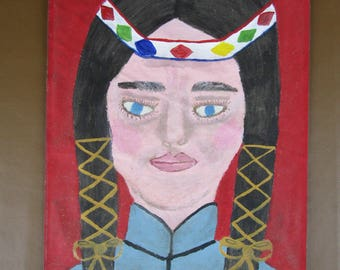 Primitive unstretched painting on canvas Native American woman