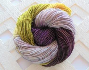 PURPLE IRIS Sparkly Hand-Dyed Yarn, DK Yarn, Dk-Weight Yarn, Merino Yarn, Weaving Yarn, Knitting Yarn, Merino/Nylon/Stellina, 231 yards