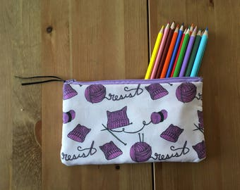 Resist Pussy Hat Pencil and Accessories Zipper Pouch
