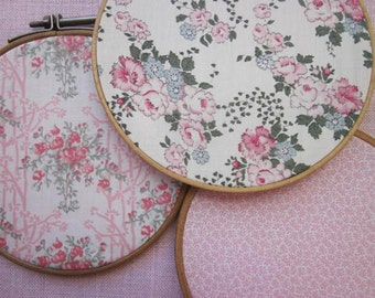 Three (3) Prettiest Vintage Liberty Tana Lawn Embroidery Hoop Fabric Art - Pretty Pink!