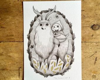 Reindeer & Girl - A4 Giclee Print