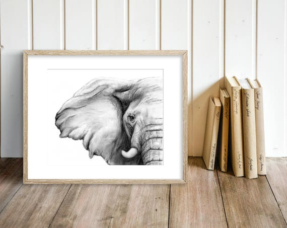 Elephant Charcoal Drawing GICLEE PRINT Elephant Decor