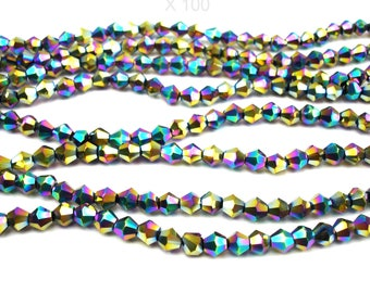 100 MULTICOLORED metallic 4 mm glass faceted beads