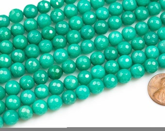 8mm Gorgeous Teal TURQUOISE JADE 8mm Faceted Round. 15.5 inches. Full strand.