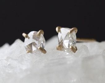 Natural Rose Cut White Diamond Earrings