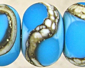 Blue Lampwork Glass Bead Set of 6  Frosed Etched Organic Silvered Ivory Small 11mm Aqua on Turquoise Velvet