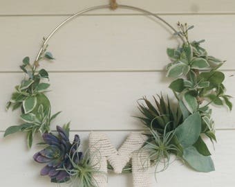 Metal Minimalist Succulent Wreath. Customizable Letter First or Last Name! Perfect Gift for Her! Indoor/Outdoor/Patio Home Wall Decor