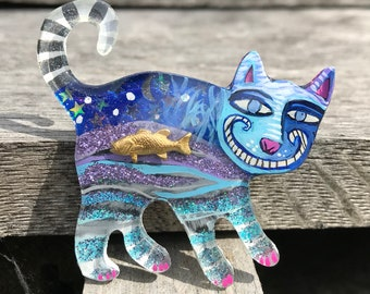 02 fatcat 756 68.00 // lucite jewelry,  acrylic brooch, cat, pop art, low brow art, hand drawn, laser cut, painting on plastic