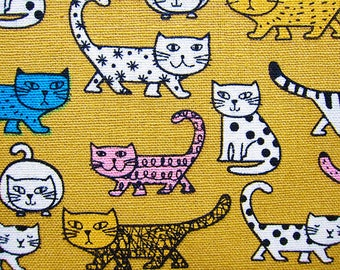 Cat Print Fabric - Animal Print Fabric - Cotton Fabric - Patterned Cats on Mustard Yellow - Half Yard