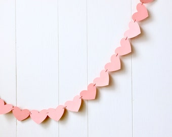 Ready to Ship Coral Heart Garland / Wedding Decoration / Love Bunting / Anniversary Decor / Photo Prop / Adjustable Hand Sewn