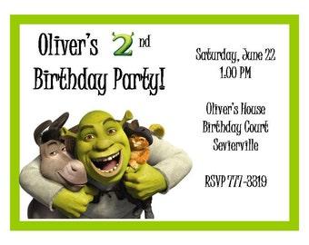 Shrek 2nd Birthday Invitation- Printable