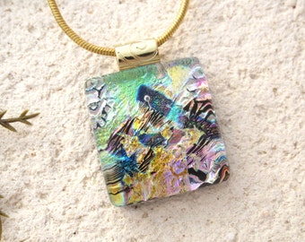 Dichroic Jewelry. Rainbow Necklace, Rainbow Pink Gold  Necklace, Fused Glass Jewelry, Dichroic Pendant, Glass Gold Necklace, 022516p106