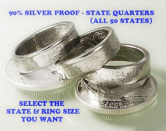 Coin Rings ---- (SOMETHING SPECIAL) ----- State Quarters - 90% Silver Proof ---- (Select State & Ring Size You Want)