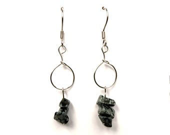 Bohemian jewelry, obsidian earrings, snowflake obsidian jewelry, bohemian earrings, whimsical silver earrings, whimsical stone jewelry, ylic