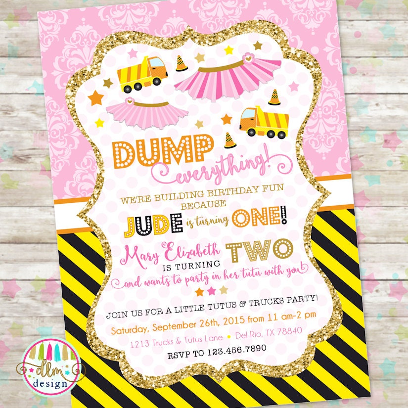Dump Truck and Tutu Invitation Trucks and Tutus Double