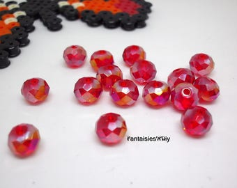 (PF85) Set of 20 effect translucent 8 * 6mm Red Crystal faceted glass beads