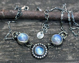 Rainbow moonstone sterling silver necklace / moonstone necklace / gift for her / jewelry sale / blue flash moonstone / gemstone necklace