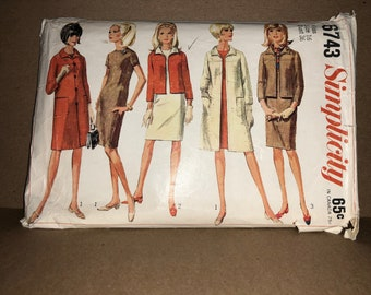 60s Vintage Simplicity 6743 Printed Sewing Pattern - Misses' Coat, Jacket, & Dress; Size 16, Bust 36""