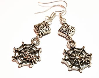 Spiders charm antique silver earrings