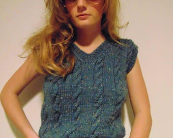 Vintage 70s cable blue green yellow hipster mod cropped sweater vest.