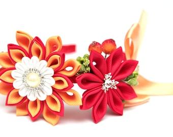 Red and orange Kanzashi  headband. Autumn headband. Flower crown. Wedding headpiece. Kanzashi flower crown. Kanzashi headband