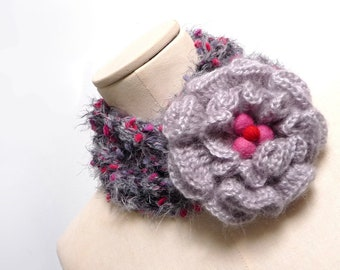 Scarf Necklace, Loop Infinity Scarf, Crochet Scarlette, Neckwarmer - Grey, Pink, Red with Giant Flower - Handmade