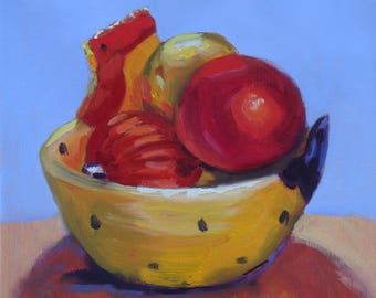 Still Life Oil Painting// Ornaments in a Chicken Shaped Bowl//8 x 8 Canvas Original//Wire Hanger//Yellow Blue and Red