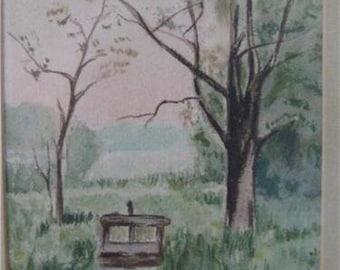 Watercolor River Scene Signed F I B 05