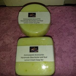 Handmade Shea Butter and Real Lemon Cream Soap Bars