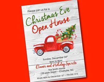 Christmas Invitation Digital Truck Christmas Tree Holiday Party