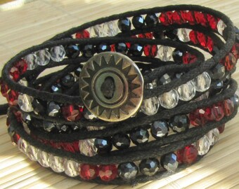 Beaded Wrap Bracelet -Red White and Black Crystal  - Boho Jewelry For Woman - Wrap Five Times gift for Mom Teacher Wife Present