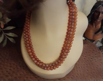 Carnelian three strand necklace